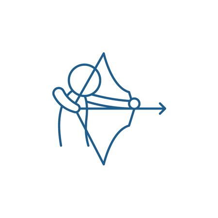 Symbol für das Konzept des Bogenschießens. Bogenschießen flaches Vektor-Website-Zeichen, Umrisssymbol, Illustration.