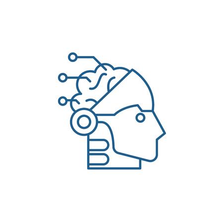 Artificial intelligence and robotics line concept icon. Artificial intelligence and robotics flat  vector website sign, outline symbol, illustration.