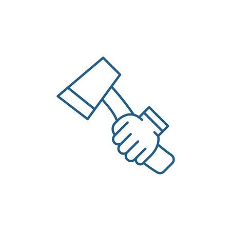 Ax line concept icon. Ax flat  vector website sign, outline symbol, illustration. Illustration