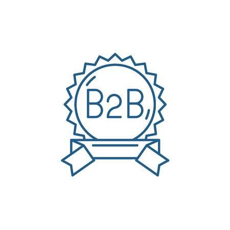 B2b line concept icon. B2b flat  vector website sign, outline symbol, illustration.
