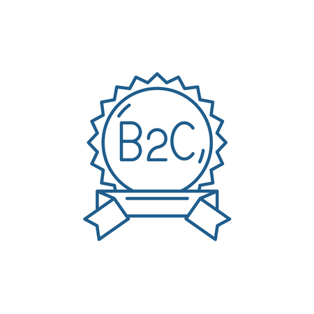 B2c line concept icon. B2c flat  vector website sign, outline symbol, illustration.