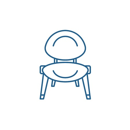 Baby chair line concept icon. Baby chair flat  vector website sign, outline symbol, illustration. Stock Illustratie