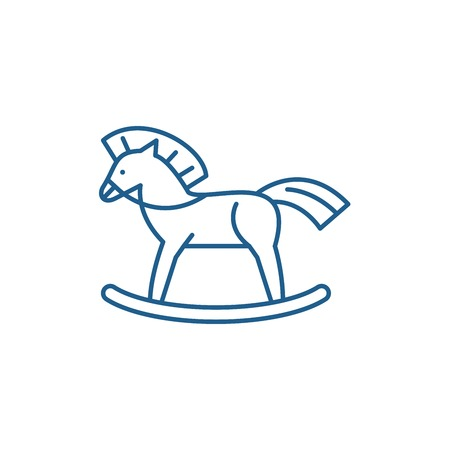 Baby horse line concept icon. Baby horse flat  vector website sign, outline symbol, illustration.