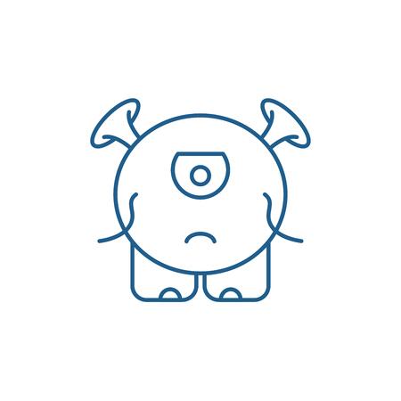 Baby monster line concept icon. Baby monster flat  vector website sign, outline symbol, illustration.