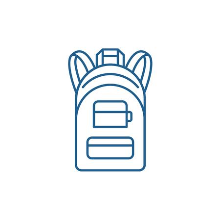 Backpack line concept icon. Backpack flat  vector website sign, outline symbol, illustration.