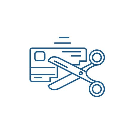 Symbol für das Konzept der schlechten Kredithistorie. Flaches Vektor-Website-Zeichen der schlechten Kreditgeschichte, Umrisssymbol, Illustration. Vektorgrafik