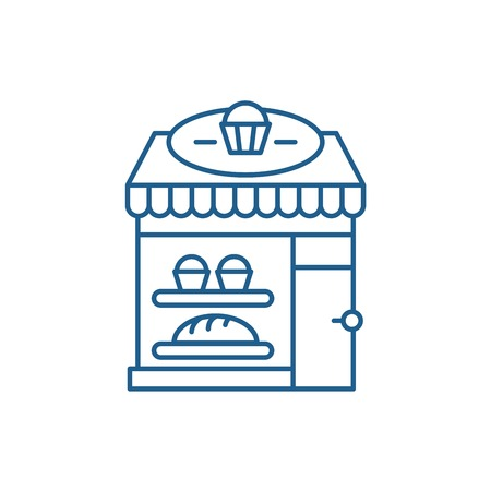 Bakery line concept icon. Bakery flat  vector website sign, outline symbol, illustration. Ilustracja