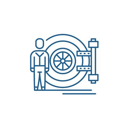 Bank safe line concept icon. Bank safe flat  vector website sign, outline symbol, illustration.
