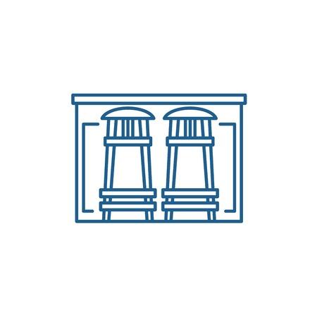 Bar counter line concept icon. Bar counter flat  vector website sign, outline symbol, illustration.