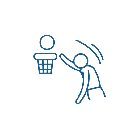 Basketball line concept icon. Basketball flat  vector website sign, outline symbol, illustration.