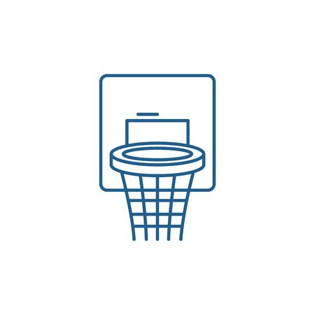 Basketball basket line concept icon. Basketball basket flat  vector website sign, outline symbol, illustration. Illusztráció