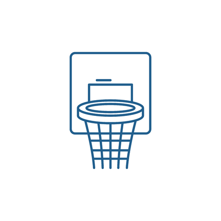 Basketball basket line concept icon. Basketball basket flat  vector website sign, outline symbol, illustration. Illustration
