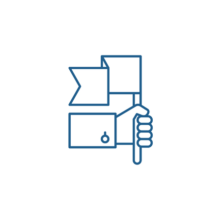 Advantage line concept icon. Advantage flat  vector website sign, outline symbol, illustration.