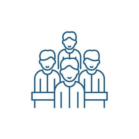 Agile team line concept icon. Agile team flat  vector website sign, outline symbol, illustration.