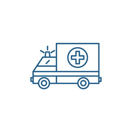 Ambulance line concept icon. Ambulance flat  vector website sign, outline symbol, illustration.