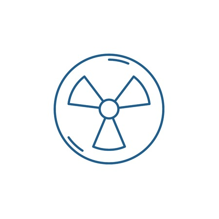 Atomic industry line concept icon. Atomic industry flat  vector website sign, outline symbol, illustration. Banco de Imagens - 119919498