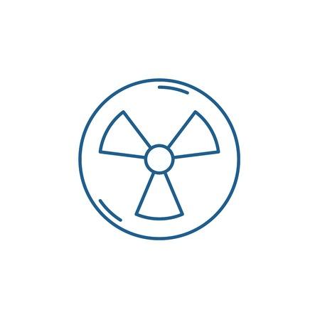 Icône de concept de ligne de l'industrie atomique. Signe de site Web de vecteur plat de l'industrie atomique, symbole du contour, illustration. Vecteurs