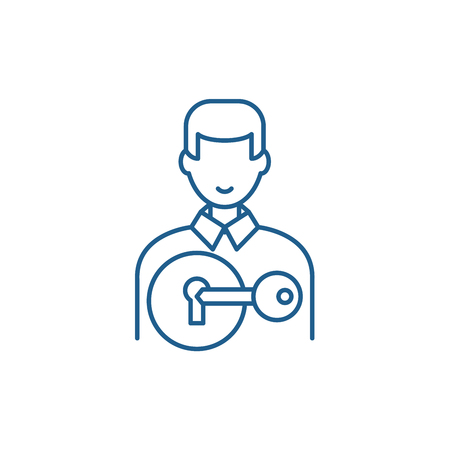 Attracting customers line concept icon. Attracting customers flat  vector website sign, outline symbol, illustration. Иллюстрация