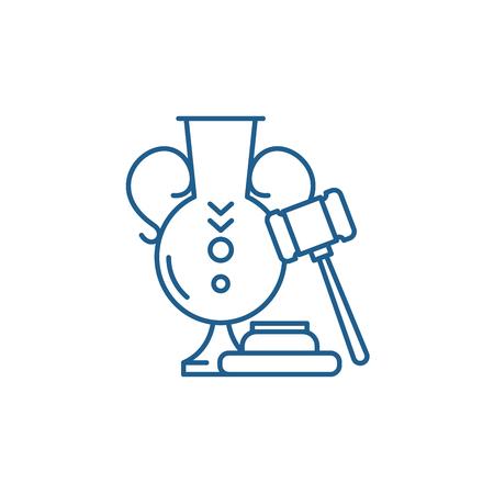 Auction line concept icon. Auction flat  vector website sign, outline symbol, illustration.
