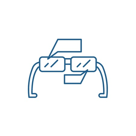 Augmented reality glasses line concept icon. Augmented reality glasses flat  vector website sign, outline symbol, illustration.