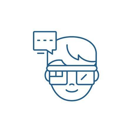 Augmented reality vision glasses line concept icon. Augmented reality vision glasses flat  vector website sign, outline symbol, illustration.