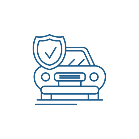 Auto insurance line concept icon. Auto insurance flat  vector website sign, outline symbol, illustration.