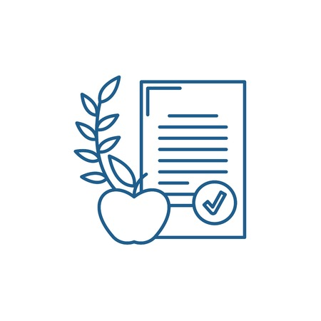 Balanced diet line concept icon. Balanced diet flat  vector website sign, outline symbol, illustration. 스톡 콘텐츠 - 119919514