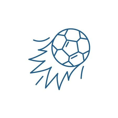 Ball goal line concept icon. Ball goal flat  vector website sign, outline symbol, illustration. Stock Vector - 119919516