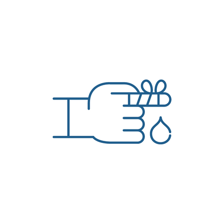 Bandaged finger line concept icon. Bandaged finger flat  vector website sign, outline symbol, illustration.