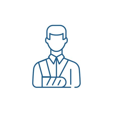 Icône de concept de ligne homme bandé. Signe de site Web vecteur plat homme bandé, symbole du contour, illustration.