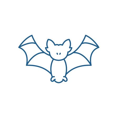 Bat line concept icon. Bat flat  vector website sign, outline symbol, illustration.