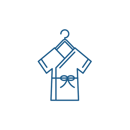 Bathrobe line concept icon. Bathrobe flat  vector website sign, outline symbol, illustration. Ilustração