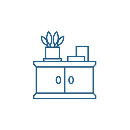 Bathroom cabinet line concept icon. Bathroom cabinet flat  vector website sign, outline symbol, illustration.