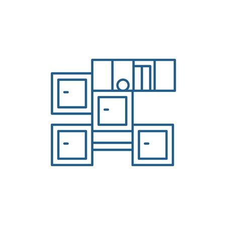 Bathroom furniture line concept icon. Bathroom furniture flat  vector website sign, outline symbol, illustration. Ilustração