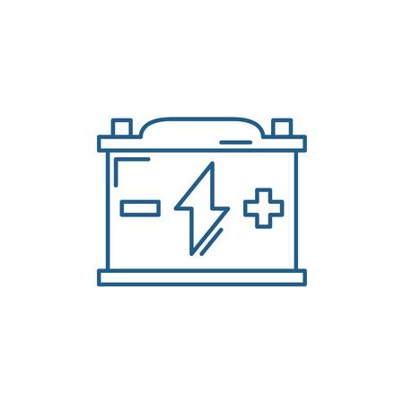 Battery line concept icon. Battery flat  vector website sign, outline symbol, illustration.