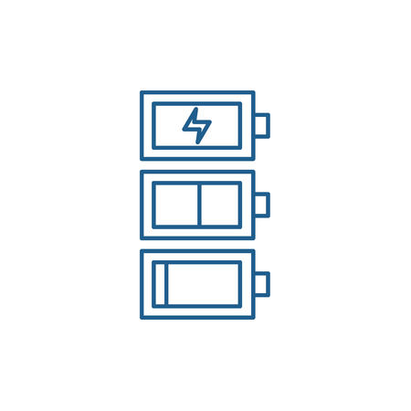 Battery charge line concept icon. Battery charge flat  vector website sign, outline symbol, illustration. Vettoriali
