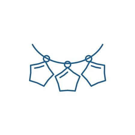 Beads garlands line concept icon. Beads garlands flat  vector website sign, outline symbol, illustration.