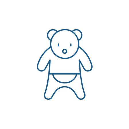 Bear line concept icon. Bear flat  vector website sign, outline symbol, illustration.