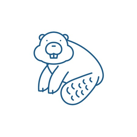 Beaver line concept icon. Beaver flat  vector website sign, outline symbol, illustration.