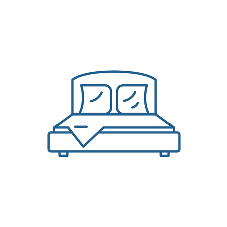 Bedroom line concept icon. Bedroom flat  vector website sign, outline symbol, illustration. Archivio Fotografico - 119919392