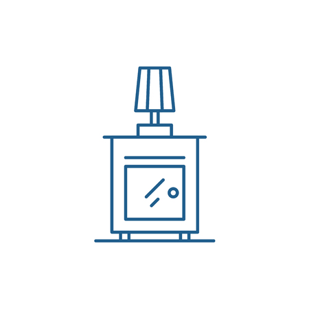 Bedside table line concept icon. Bedside table flat  vector website sign, outline symbol, illustration.