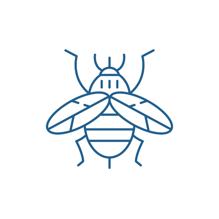 Bee line concept icon. Bee flat  vector website sign, outline symbol, illustration.