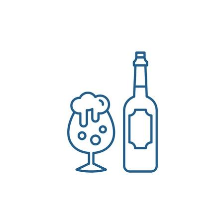 Beer line concept icon. Beer flat  vector website sign, outline symbol, illustration.