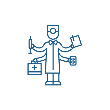 Best doctor line concept icon. Best doctor flat  vector website sign, outline symbol, illustration.  イラスト・ベクター素材