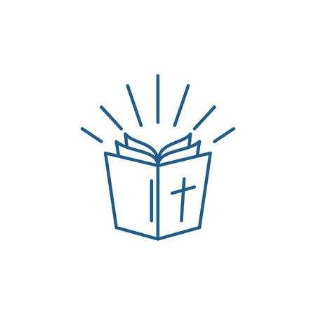 Bible line concept icon. Bible flat  vector website sign, outline symbol, illustration. 일러스트