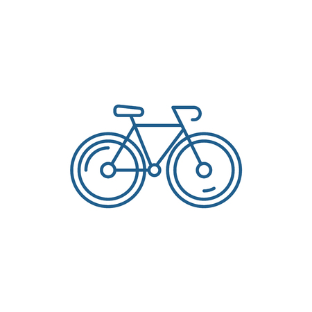Bicycle line concept icon. Bicycle flat  vector website sign, outline symbol, illustration.