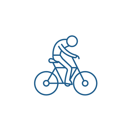 Bicycle race line concept icon. Bicycle race flat  vector website sign, outline symbol, illustration.
