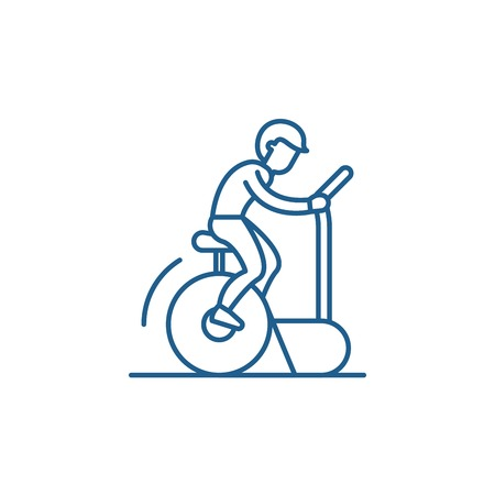 Bicycle training line concept icon. Bicycle training flat  vector website sign, outline symbol, illustration. Stock Illustratie