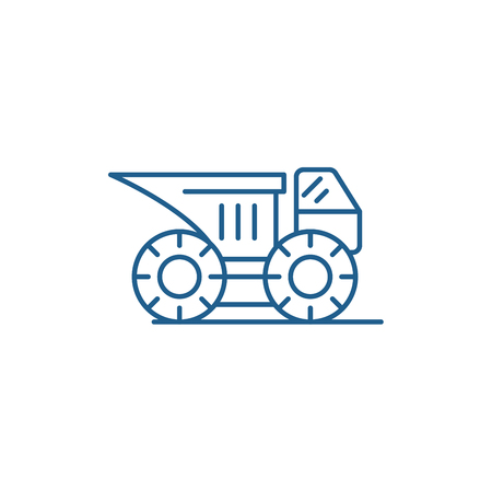 Big construction machine line concept icon. Big construction machine flat  vector website sign, outline symbol, illustration.