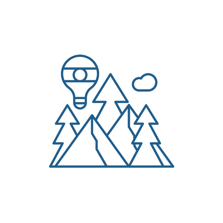 Adventure line concept icon. Adventure flat  vector website sign, outline symbol, illustration.